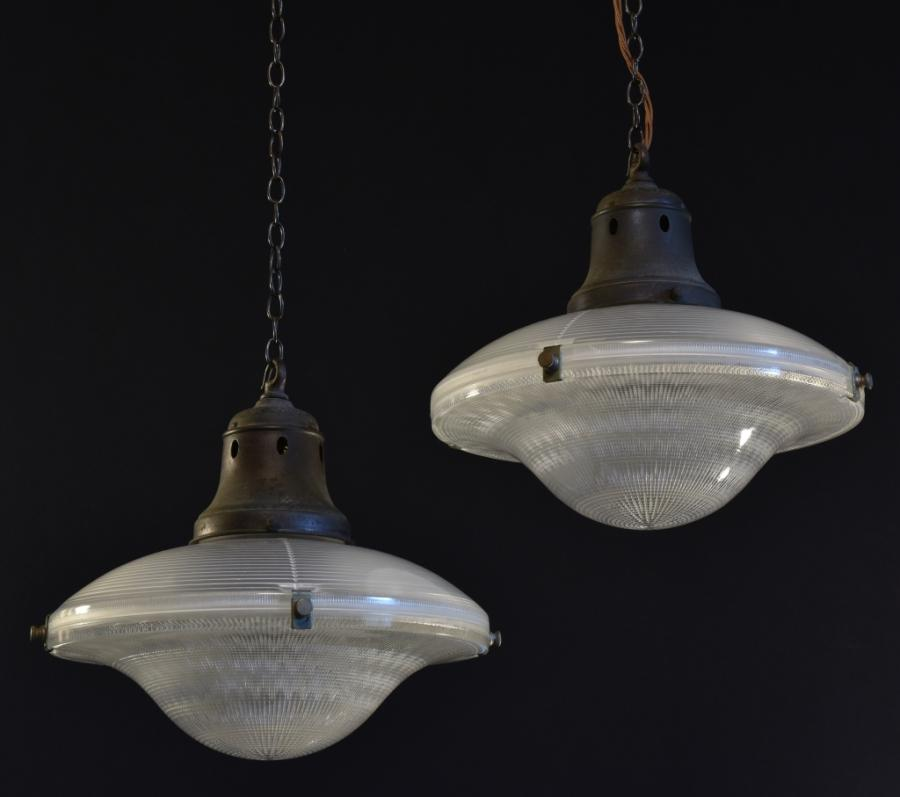 antique holophane flying saucer lamps