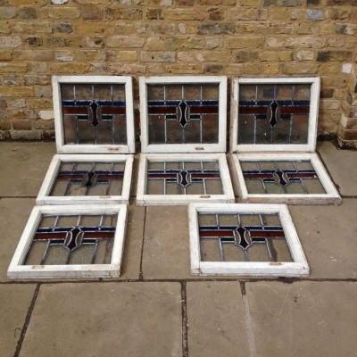 A Set Of Reclaimed Leaded Glass Windows
