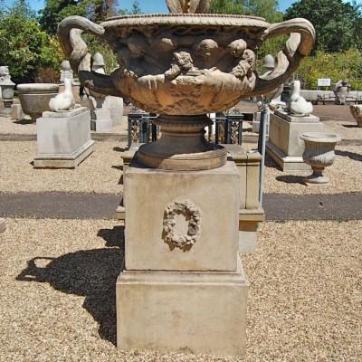 Large Reclaimed Warwick Stone Vase On Plinth