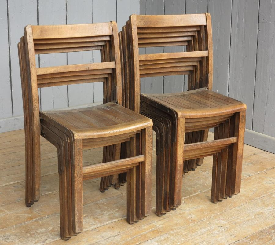 Vintage Wooden Reclaimed Stacking Chairs