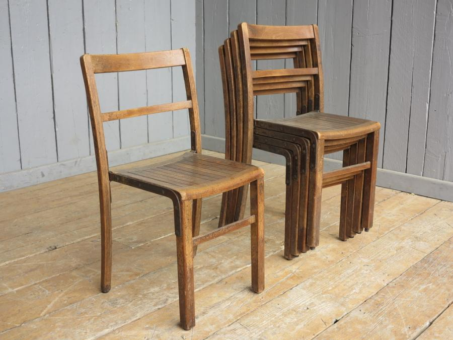 Marvelous Vintage Wooden Reclaimed Stacking Chairs