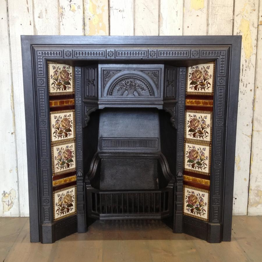 For Sale Antique Victorian Tiled Fireplace Insert Salvoweb Uk