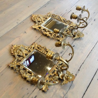 Antique Brass Candle Sconces