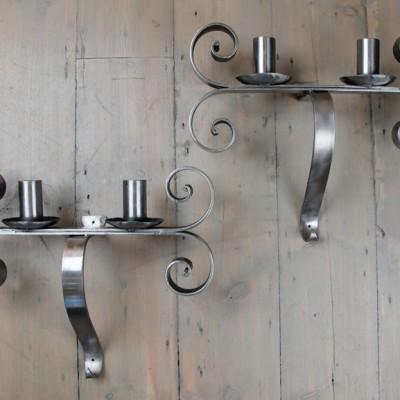 Polished Iron Neo-Gothic Sconces