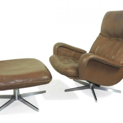 De Sede S-231 leather lounge chair and footstool