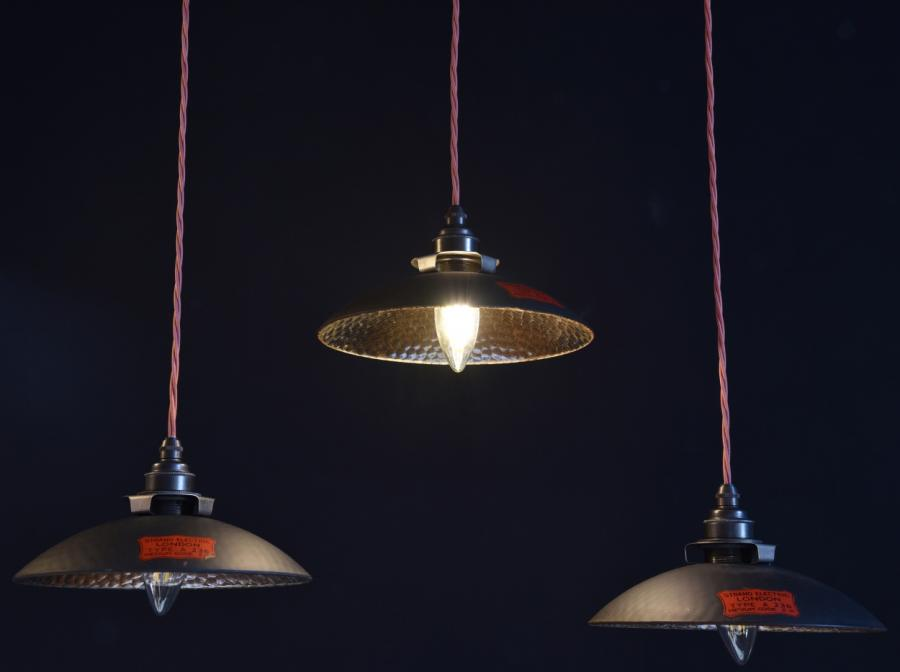 1930s period silvered pendant shades Strand London