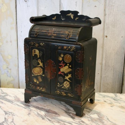 Antique Chinoiserie Lacquered Miniature Cabinet