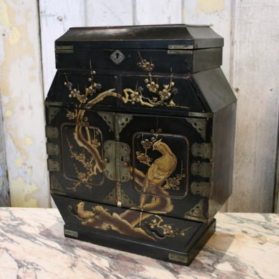Antique Lacquered Chinoiserie Miniature Cabinet