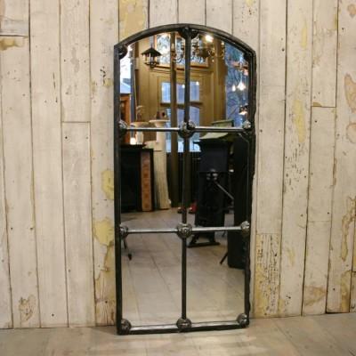 Antique Victorian Arched Cast Iron Window Mirror