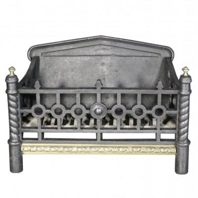 A small French cast iron and brass fire grate