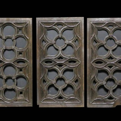 A set of three carved oak 19th C. Ecclesiastical wall panels