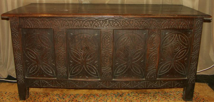 early 18th century oak coffer chest