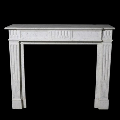 A late 19th Century French Carrara marble fire surround