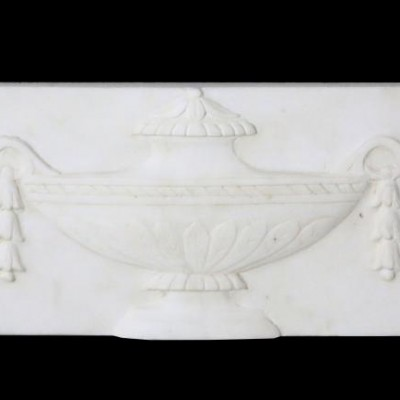 An antique carved Statuary marble plaque