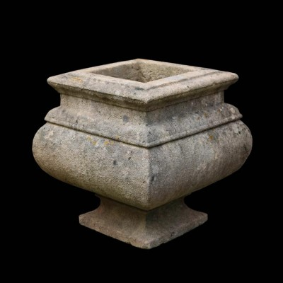 A reclaimed carved Limestone garden urn / centrepiece