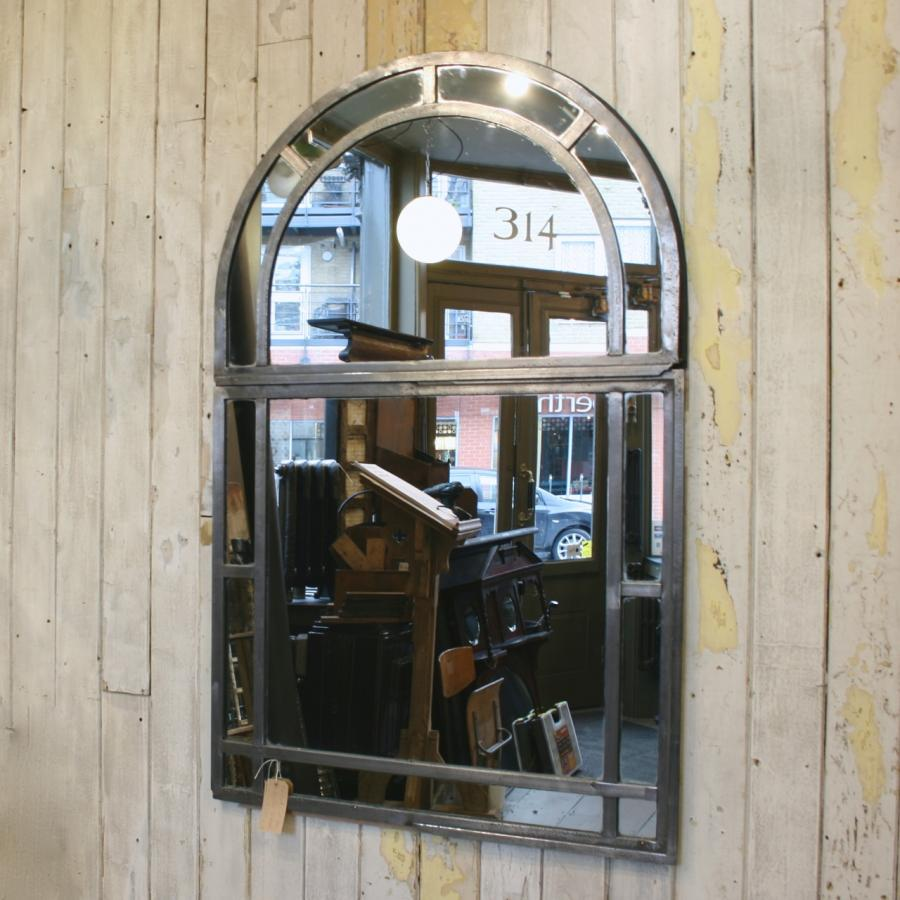 For Sale Antique Polished Cast Iron Arched Window Mirror