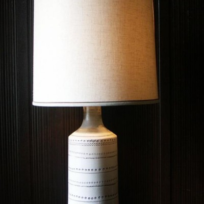 1950's pottery table lamp and shade