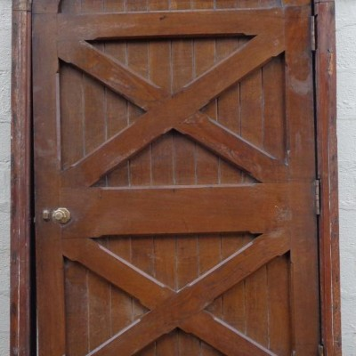 Large arched oak church door & frame