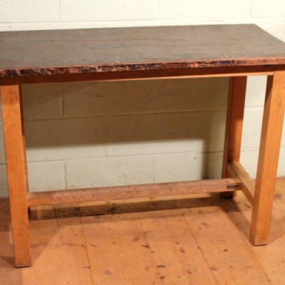 Reclaimed 'ESA McIntosh' School Lab Mahogany Top Tables With Map