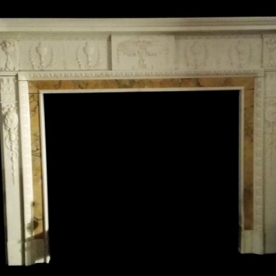Antique Neoclassical Carved Statuary marble Chimneypiece