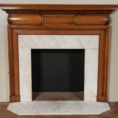 antique mahogany fireplace with carrara marble