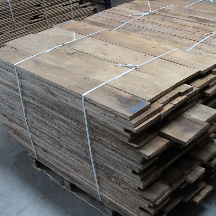 Antique reclaimed French oak floorboards brushed