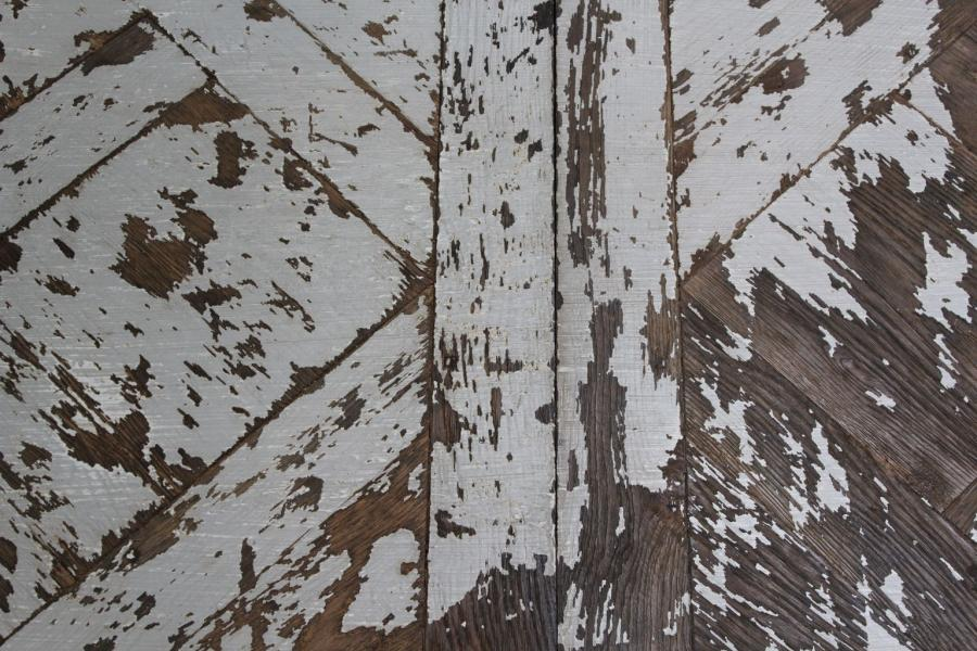 Oak Panel Flooring With Distressed Paint Finish