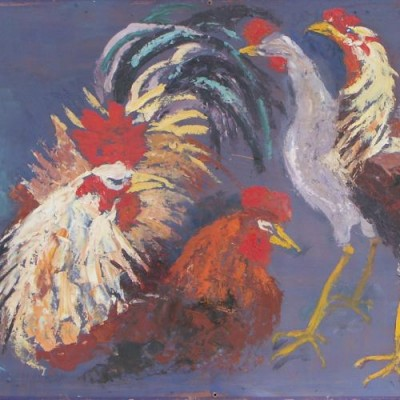 cockerels oil painting