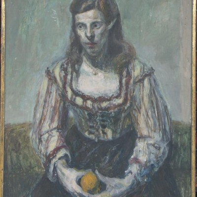 lady with orange oil painting