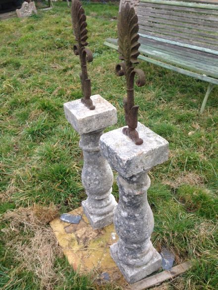 Pair Of Small Antique Stone And Cast Iron Finials