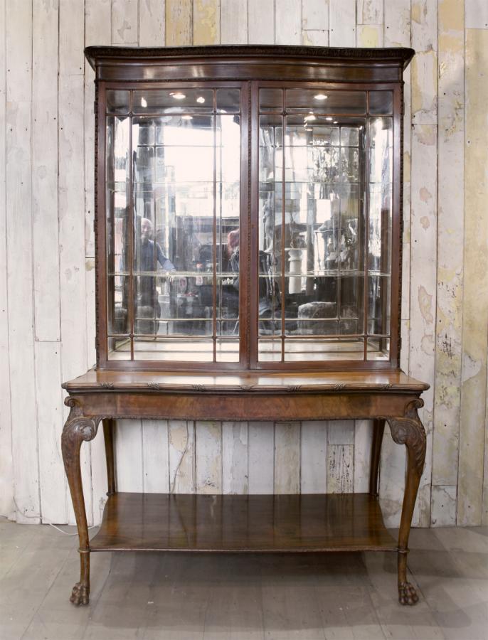 Antique Walnut Mirrored Vitrine Display Cabinet