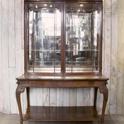 Antique Walnut Mirrored Vitrine Display Cabinet