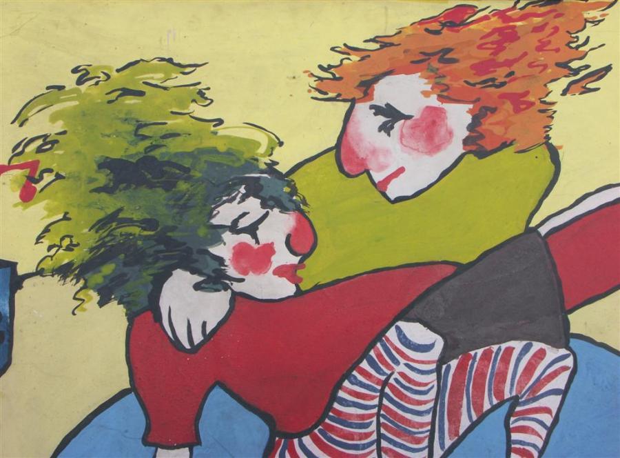 large beatnik oil painting