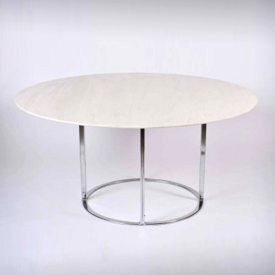Midcentury Marble Table with Chrome Base