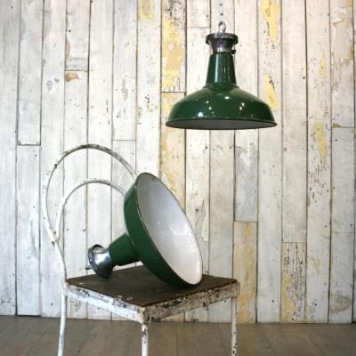 Vintage Industrial Green Enamelled Light Shades