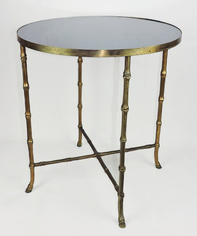 Solid Brass Bamboo Side Table Blue Mirror 50s gilt maison french