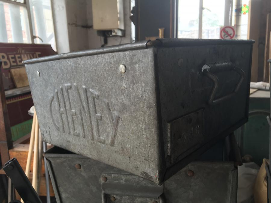 Quantity of salvaged metal tote trays 100+