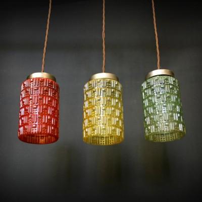 Vintage 1960s Coloured Glass Pendant Lights