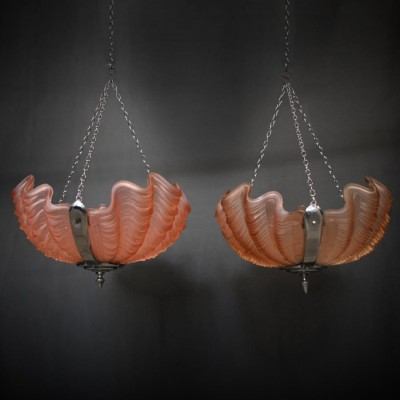 Set of 3 1930s Art Deco Clam Shell Frosted Glass Ceiling Lights