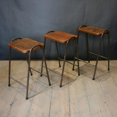 Vintage Teak Top Tubular Stacking Stools (40 Available)