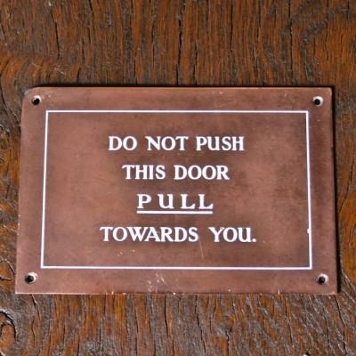 Vintage Brass Pull Door Signs