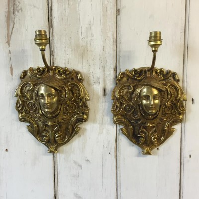 Pair Of Reclaimed Brass Sconces