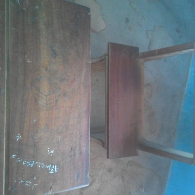 Iroko, african teak school desks, tables and hassocks tops.