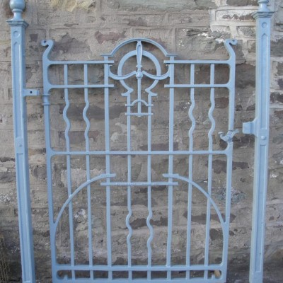 Art nouveau cast iron gate, posts & railings.