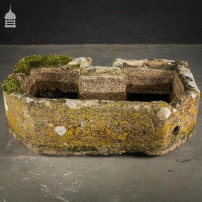 Small Limestone Trough with Lichen and Moss