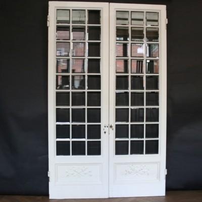 Pair of Antique Pine & Gesso Glazed Double Doors