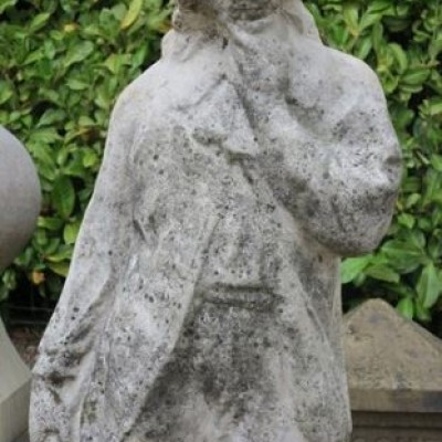Cast Stone Garden Statue of a Young Man on Plinth