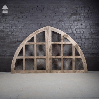 Oak Arched Church Doors with Mesh Windows