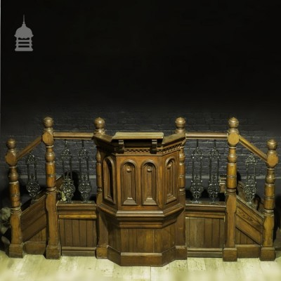 19th C Pitch Pine Pulpit with Stairs and Cast Iron Balustrade