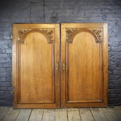 Pair of Hand Carved Oak French Panel Doors